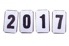 Geïsoleerde jaar 2017 datum in metaaltegels Stock Afbeelding