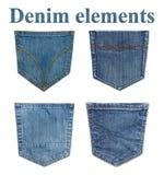 Geïsoleerde jeanszakken Vier jeanselementen Stock Fotografie