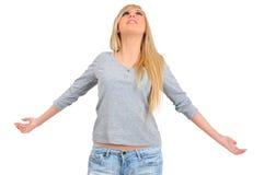 Geïsoleerde jonge vrouw Stock Foto