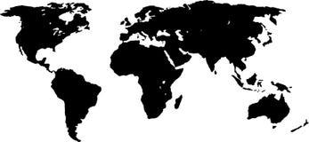 Geïsoleerde kaart van wereld in zwarte stock illustratie