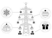 Geïsoleerde kerstboom - blauwdruk stock illustratie