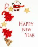 Geïsoleerde Kerstmis de decoratie, de witte achtergrond voor de wijnoogst van de prentbriefkaargift, copyspace voor tekst, vormen Royalty-vrije Stock Afbeelding