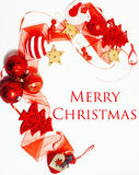 Geïsoleerde Kerstmis de decoratie, de witte achtergrond voor de wijnoogst van de prentbriefkaargift, copyspace voor tekst, vormen Royalty-vrije Stock Foto