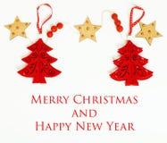 Geïsoleerde Kerstmis de decoratie, de witte achtergrond voor de wijnoogst van de prentbriefkaargift, copyspace voor tekst, vormen Royalty-vrije Stock Foto's