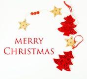Geïsoleerde Kerstmis de decoratie, de witte achtergrond voor de wijnoogst van de prentbriefkaargift, copyspace voor tekst, vormen Royalty-vrije Stock Fotografie