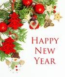 Geïsoleerde Kerstmis de decoratie, de witte achtergrond voor de wijnoogst van de prentbriefkaargift, copyspace voor tekst, vormen Stock Afbeelding