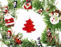 Geïsoleerde Kerstmisdecoratie, witte achtergrond voor de wijnoogst van de prentbriefkaargift Stock Afbeeldingen