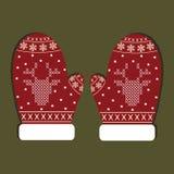Geïsoleerde Kerstmishandschoenen Royalty-vrije Stock Afbeeldingen