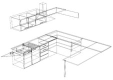 Geïsoleerde keuken 3D blauwdruk - Stock Afbeelding