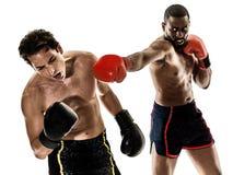 Geïsoleerde Kickboxings kickboxer in dozen doende mensen Stock Afbeelding