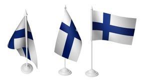 Geïsoleerde 3 Kleine Finland Vlag die 3d Realistische stof van Finland golven Royalty-vrije Illustratie