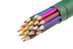 Geïsoleerde kleurenpotloden Royalty-vrije Stock Afbeeldingen