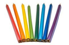Geïsoleerde kleurenpotloden stock foto