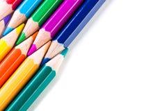 Geïsoleerde kleurenpotloden Stock Fotografie