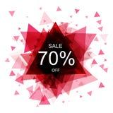 Geïsoleerde kleurrijke kortingssticker op witte achtergrond Abstracte geometrische driehoekige bannerverkoop Vector Royalty-vrije Stock Afbeelding