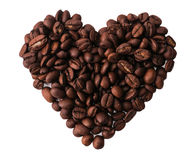 Geïsoleerde Koffiebonen in een Hartvorm Stock Foto