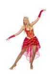 Geïsoleerde koningin in rode kleding Stock Afbeelding