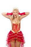 Geïsoleerde koningin in rode kleding Royalty-vrije Stock Afbeelding