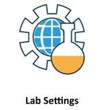 Geïsoleerde laboratoriummontages en Vectorpictogram voor Technologie royalty-vrije stock fotografie