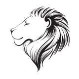 Geïsoleerde leeuwen hoofd, vectorillustratie Leeuw` s profiel Stock Afbeelding