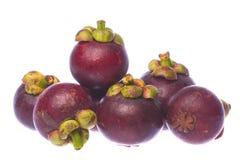Geïsoleerde mangostans Stock Afbeelding