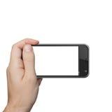 Geïsoleerde mannelijke hand die de aanraking van de telefoontablet houden stock fotografie