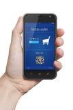 Geïsoleerde mannelijke hand die de de aanrakingscomputer houden van de telefoontablet gadge vector illustratie