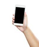 Geïsoleerde mannelijke handen die de telefoon houden Royalty-vrije Stock Afbeeldingen