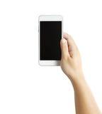 Geïsoleerde mannelijke handen die de telefoon houden Stock Afbeeldingen