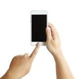 Geïsoleerde mannelijke handen die de telefoon houden Stock Foto
