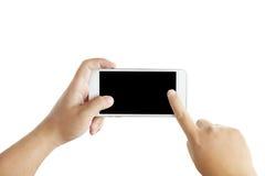 Geïsoleerde mannelijke handen die de telefoon houden Royalty-vrije Stock Foto's