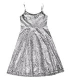 Geïsoleerde meisjes zilveren kleding Fonkelende partijkleding Stock Fotografie