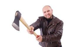 Geïsoleerde mens met bijl Royalty-vrije Stock Foto