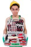 Geïsoleerde mens met toolkit Stock Fotografie
