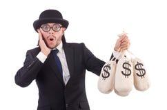 Geïsoleerde mens met zakken geld Royalty-vrije Stock Foto's