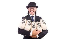 Geïsoleerde mens met zakken geld Stock Foto's