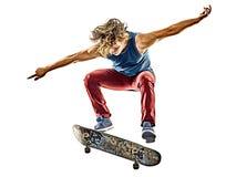 Geïsoleerde mens van de Skateboarder de jonge tiener stock fotografie