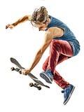 Geïsoleerde mens van de Skateboarder de jonge tiener royalty-vrije stock afbeelding