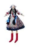 Geïsoleerde met de hand gemaakte pop in nationaal Oekraïens c Royalty-vrije Stock Afbeelding