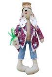 Geïsoleerde met de hand gemaakte poppenhazen in modieuze kleren Royalty-vrije Stock Foto's