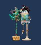 Geïsoleerde met de hand gemaakte zachte stuk speelgoed Kerstboom & krullend haar en grappig Royalty-vrije Stock Foto