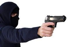 Geïsoleerde misdadiger met kanon Royalty-vrije Stock Fotografie