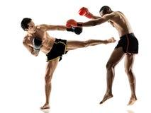 Geïsoleerde Muay Thaise kickboxing kickboxer in dozen doende mensen Stock Fotografie