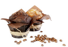 Geïsoleerde muffins Stock Foto's