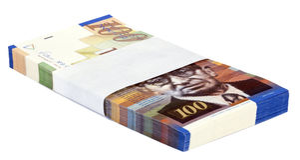 Geïsoleerde 100 NIS Bills Stack stock afbeelding
