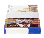 Geïsoleerde 100 NIS Bills Stack Stock Foto's