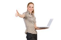 Geïsoleerde onderneemster met laptop Stock Foto's