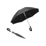 Geïsoleerde open en dichte paraplu Omgekeerde paraplu vector illustratie