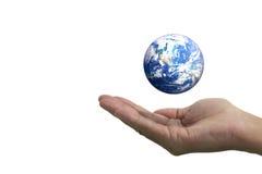 Geïsoleerde opengestelde hand en de aarde Royalty-vrije Stock Afbeelding