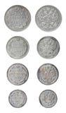 Geïsoleerde oude Russische muntstukken Stock Foto's
